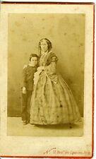 PHOTO CDV NADAR vintage print 1860 albuminé une mère et son fils PARIS