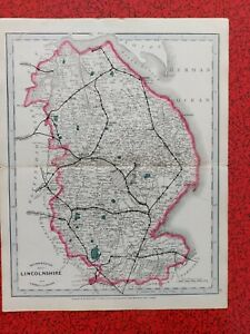 Original Antique Railway Map LINCOLNSHIRE Cruchley 1863 Stations