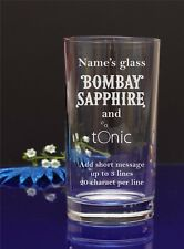 Personnalisé BOMBAY SAPHIRE & Tonic Hi-ball, mélangeur, verre/Ajouter votre message 108