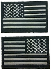 USA FLAG TACTICAL EMBROIDERED Reversed REFLECTIVE HOOK PATCH