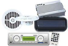 Pyle White Marine Boat Yacht MP3 Stereo Radio /2 White Speakers 220W Amp + Cover