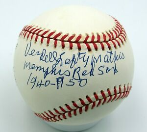 Verdell Mathis - Autographed Ball - Memphis Red Sox - Negro Leagues - 1940-50