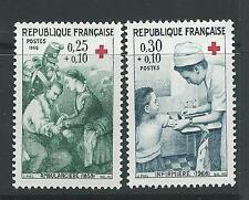 FRANCE 1966 RED CROSS FUND SG 1733-34 SET 2 MlH.