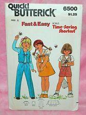 Uncut Butterick Girl 2-4 Front Tie Vest Back Wrap Skirt Pant Shorts Pattern 6500