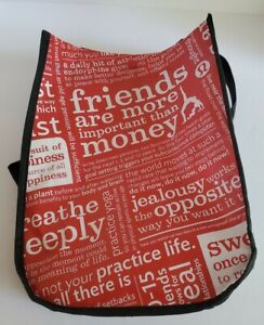 Lululemon Reusable Shopping Bag Snap Printed Red Black