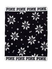 Victorias Secret PINK Cozy Blanket Black Snowflake HOLIDAY 2017 Fleece 50 X 60