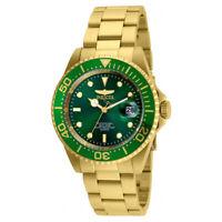 Invicta 24948 Men's Pro Diver Green Dial Gold Steel Bracelet Quartz Dive Watch