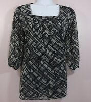 WORTHINGTON MEDIUM M Womens BLACK GRAY SQUARE NECK 3/4 SLEEVE BLOUSE TOP SHIRT
