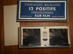 MERVEILLES SOUTERRAINES  Vintage Stereofilms Bruguiere Stereoscope 12 Positifs