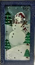 """NWT Framed Faux Stained Glass Snowman for Wall,  21"""" Tall x 11"""" Wide"""