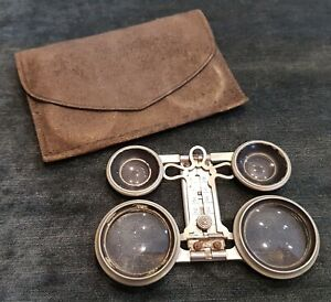 An Antique Galilean Folding Theatre Binocular Glasses in Original Leather Case.