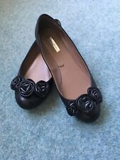 ZARA COLLECTION BLACK LEATHER FLATS, UK 5, EUR 38, USED ONCE