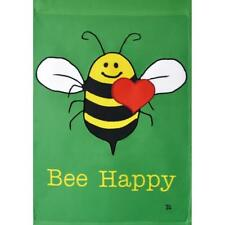 """""""BEE HAPPY"""" Smiling Bee FOREVER APPLIQUE GARDEN FLAG 12.5"""" X 18"""" Brand New"""
