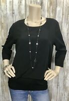 CAbi #5205 Medium Black Indulgence Top Split Back Banded Shirt Top Blouse