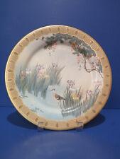 Antique Kinkozan Japanese Plate w Bird (Crane), Flowers, Tree, Water
