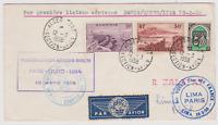 LETTRE 1ER VOL 03 1958 PARIS QUITO LIMA TIMBRES ALGERIENS CACHET ALGER AVIATION
