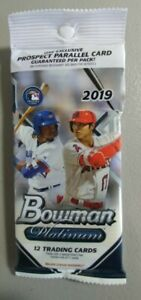 2019 Bowman Platinum 12 CARD PACKS, Factory Sealed