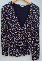 Boden Top 12 (US) Elodie Navy Blue White Floral Shirt Draped V Neck Blouse