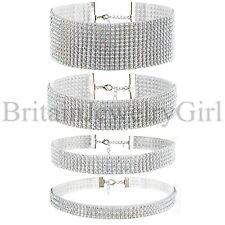 Women Bling Rhinestone Choker Necklace Wedding Party Chain Bib Statement 4pcs