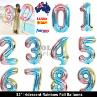 "Iridicent Rainbow 32"" Foil Number Balloons for Birthday Party Anniversary"
