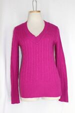 ANN TAYLOR LOFT Sweater SMALL Pink V Neck Pullover Cable Knit Long Sleeve