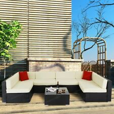 7PC Outdoor Patio Sofa Set Sectional Furniture PE Wicker Rattan Deck Couch Brown