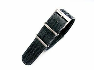NATO G10 ® Shark skin calf Leather watch band strap Military RAF Pilot IW SUISSE