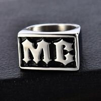 Mens 316L Silver Stainless Steel Motorcycle MC Biker Ring Band Jewelry Size 8-13