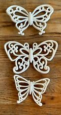 Vtg Syroco White Butterflies Retro Wall Decor Made in Usa butterfly mid century