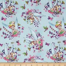 Tinkerbell tissu fat quarter cotton craft quilting bleu rose peter pan disney