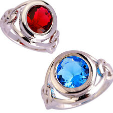 Fashion Round Cut Ruby Spinel Blue Topaz Gemstone Silver Ring Size 6-12 Jewelry