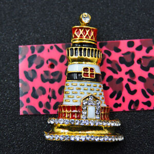 White Enamel Cute Lighthouse Crystal Betsey Johnson Charm Brooch Pin Gifts