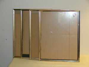8x10 inch Brass Plated Metal Picture/Photo or Document Frame lot of 4 with Glass