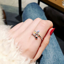 Cute Adjustable Open Rings Plane Star Crystal Rings Women Finger Rings Jewelry