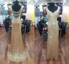 Bling Bling Sequins V Neck Evening Prom Dress New Sheer Back Wedding Party Gowns