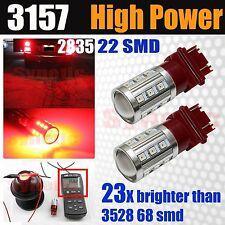 2x 3157 3457 High Power 2835 Chip Bright Red LED Turn Signal Tail Light Bulbs