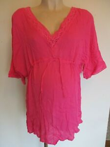 BLOOMING MARVELLOUS MATERNITY PINK KAFTAN BEACH COVER TUNIC TOP SIZE S 8-10