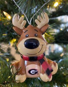 Georgia Bulldogs Reindeer Christmas Holiday Tree Ornament FREE USA SHIPPING
