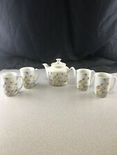 Enesco Nature Garden Society Vintage 1975 Set Of 4 Teacups And Teapot Kg WS29