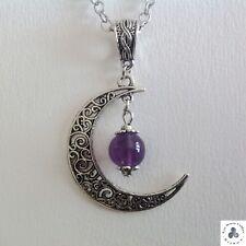 collier pendentif croissant de lune et perle en Améthyste