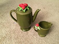 Vintage Strawberry Teapot With Creamer Green From Japan
