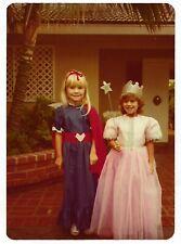 Vintage 70s PHOTO Pair Little Girls in Super Hero & Princess Halloween Costumes