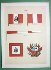 PERU Coat of Arms Naval Flags Jack Merchant Pennant - 1899 Color Litho Print