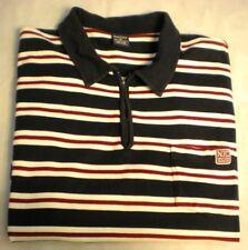 Nautica Polo Shirt XXL Cotton Men's Short Sleeve zip up Red White Blue Striped