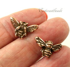TierraCast Honey Bee Beads, Antiqued Copper Plated, 5 Pieces, 1918
