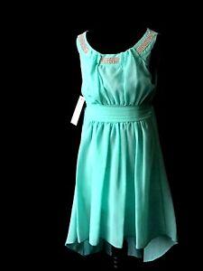 girls mint chiffon summer dress dipped hem silver bead detail 24m 2y
