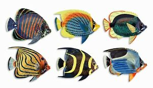 "Hand Painted 8"" Tropical Fish Replica Wall Mount Decor Plaque Sculpture 009L"