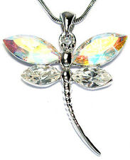 AB w Swarovski Crystal DRAGONFLY Bridal Bridesmaid Wedding Pendant Necklace Xmas