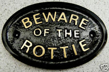 BEWARE ROTTWEILER ROTTIE - HOUSE DOOR GATE DOG SIGN (Gold or Silver Lettering)