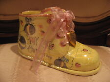 New Born Nursery Hand Painted Porcelain Infant Baby Bootie W/Heart Photo Charm